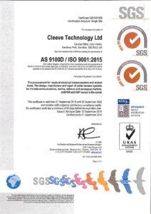 Cleeve Technology Ltd AS9100D ISO 9001 Sept 2022