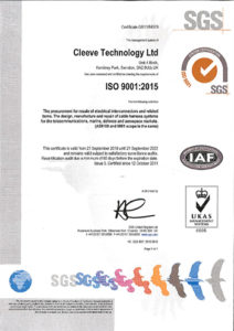 Cleeve Technology Ltd ISO 9001 Sept 2022